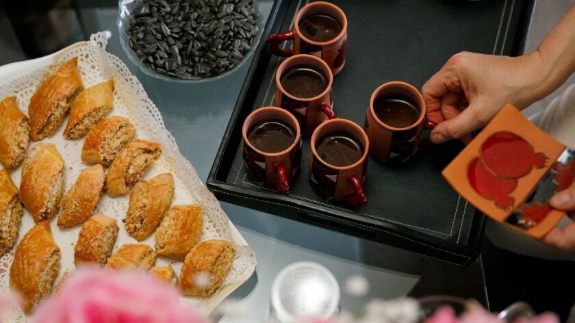GLENDALE, CALIF. -- SUNDAY, JULY 22, 2018: Turkish coffee is prepared with Georgian dessert during a