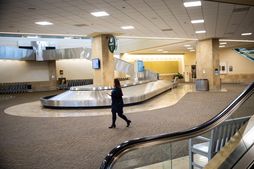 An empty baggage claim area in John Wayne Airport.