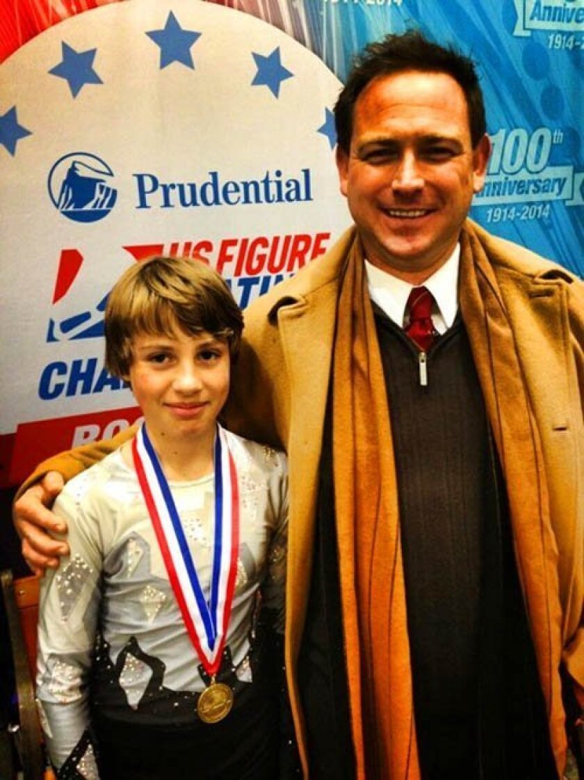 Max Lake, 11, of La Jolla, recently scored third at the U.S. Figure Skating Competition with guidance from his coach, Matthew Smith. Courtesy