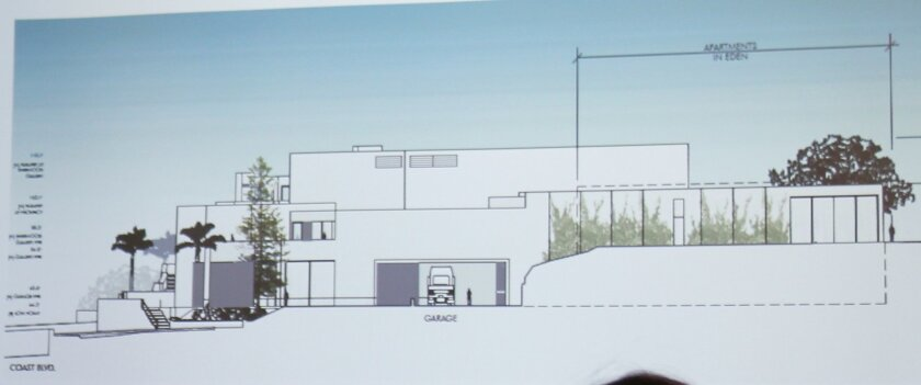 Rendering of the south side of the Museum of Contemporary Art (along Cuvier Street), as it would appear after an expansion and remodel. Architect Claude-Anthony Marengo, who represents the adjacent In Eden apartments, suggested the new museum space (including an underground garage) have more articu
