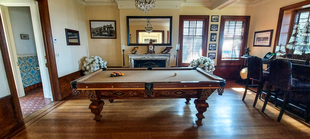 The billiard room at Crown Manor in Coronado.
