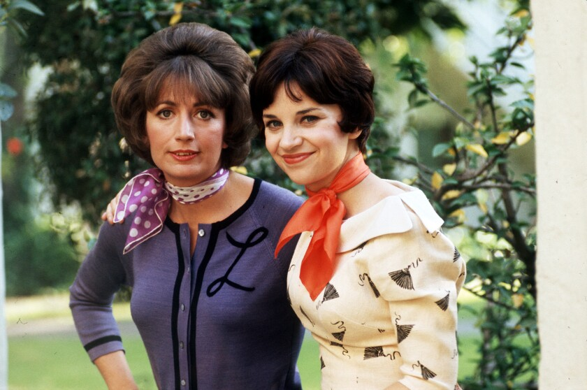 """Penny Marshall, left, and Cindy Williams in 1976, the year """"Laverne & Shirley"""" first aired on ABC."""