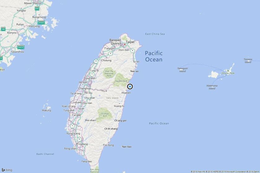 The epicenter of the quake near Hualien City, Taiwan.