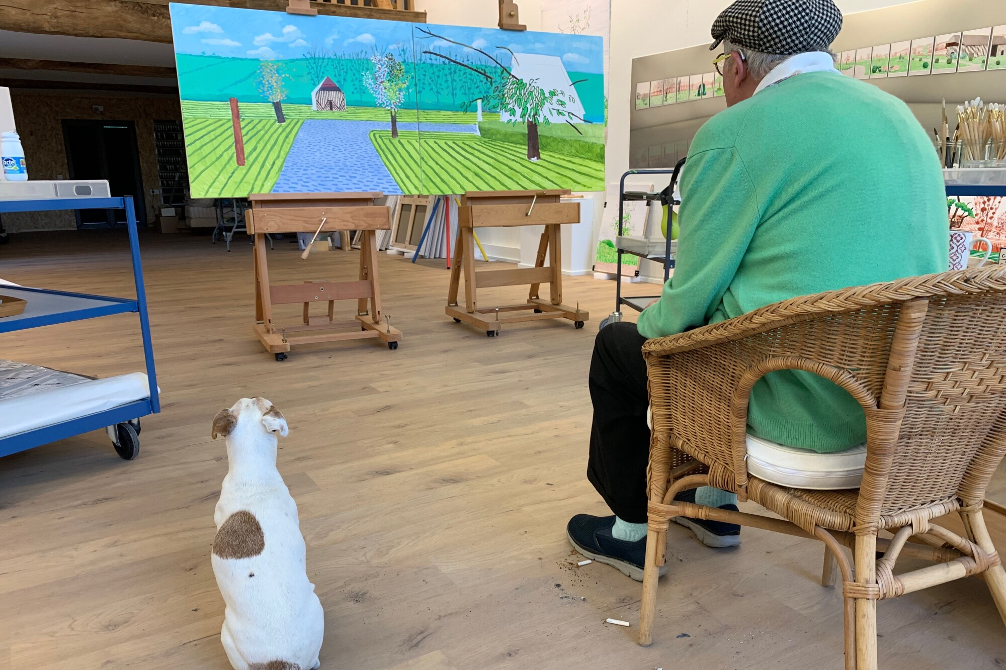 David Hockney and Ruby in the Normandy studio, May 25, 2020.