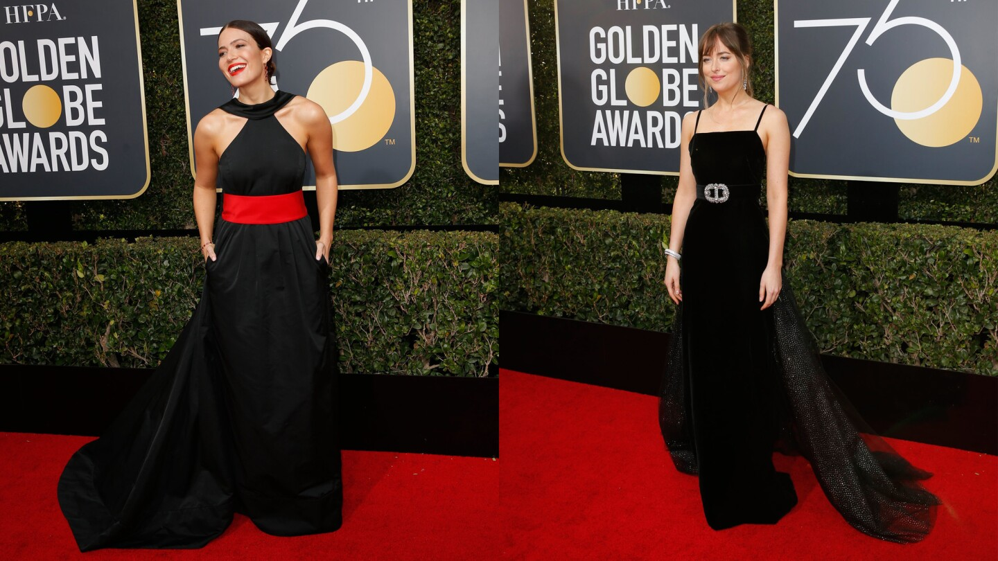 Mandy Moore, left, and Dakota Johnson were on trend twice over by pairing bare shoulders with bold belt choicces.