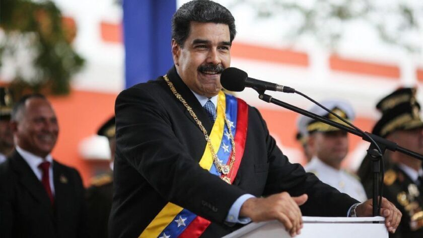 Venezuela's President Nicolas Maduro speaks at an event in Bolivar city on Friday.