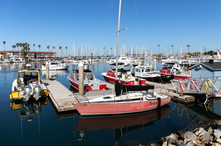 Police boats sit idle at the Oceanside Harbor last week.