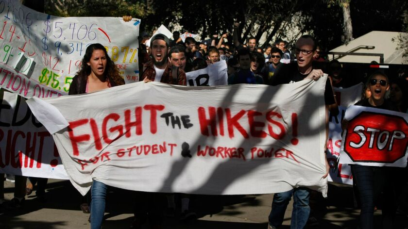 UC San Diego students protest a proposed tuition increase in 2014.