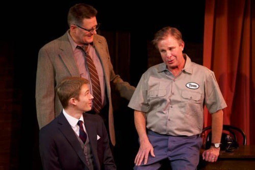 George Murra (Gregory North) and Tom Newton (James Leaming) try to explain the foibles of married life to young John Murra (Ben Cole) in North Coast Repertory Theatre's production of 'Who Am I This Time?' aaron rumley