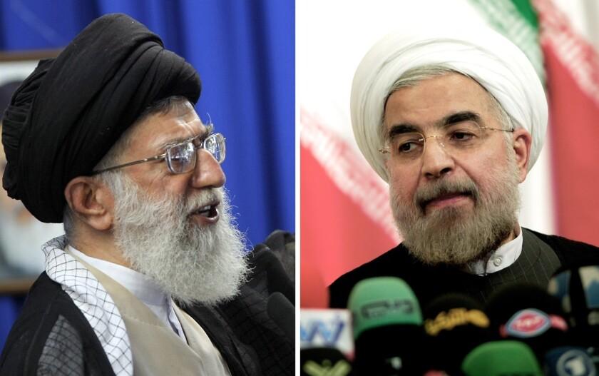 Iran's supreme leader Ayatollah Ali Khamenei, left, and Iran's president Hassan Rouhani.