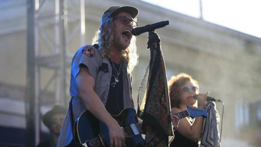 Singer Allen Stone performing on the Trestles Stage on Friday during the Kaaboo Del Mar music festival. (David Brooks)