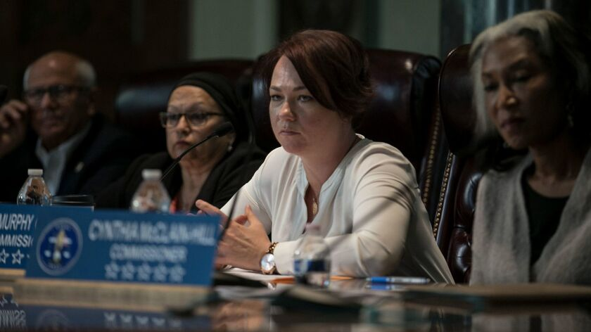 The L.A. Police Commissioner Shane Murphy Goldsmith looks on during a special meeting at City Hall to discuss homelessness. She opened the hearing by explaining her personal connection to the issue.