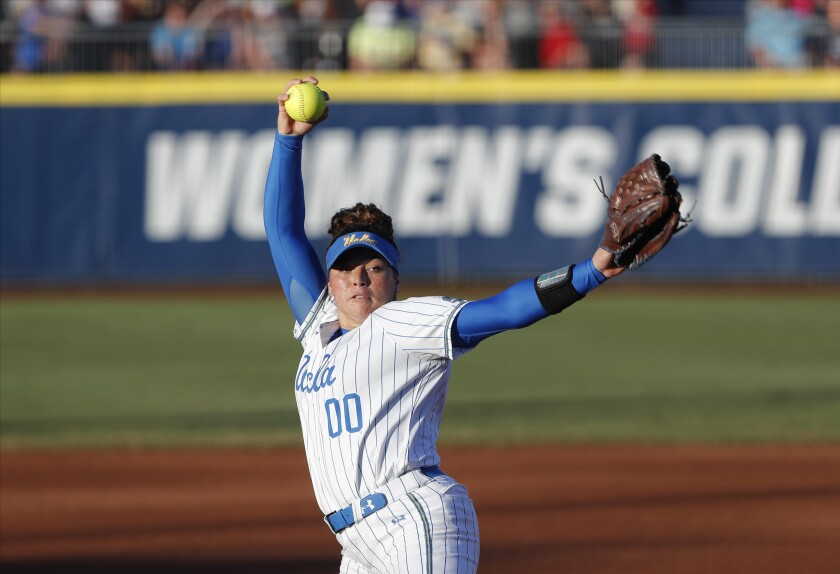 UCLA's Rachel Garcia pitches against Oklahoma during the first inning of Game 2 of the Women's College World Series
