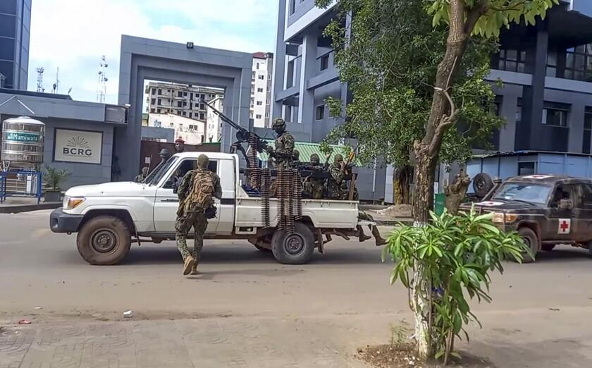 Soldiers patrolling near Guinea's presidential office