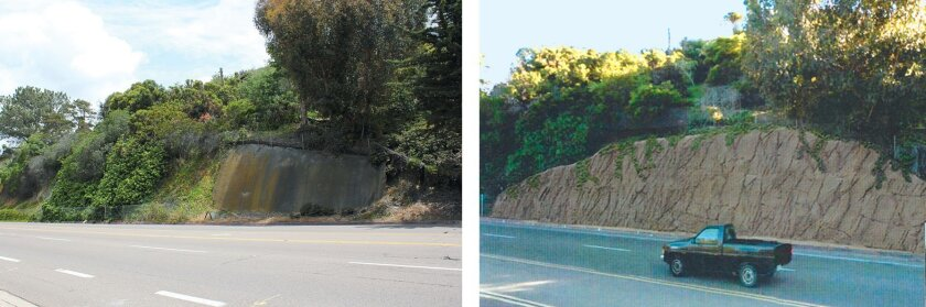 A remaining portion of an old retaining wall along Torrey Pines Road in the Shores (left) and a rendering a proposed 13- to 25-foot-high replacement wall the city plans to construct there. LJCPA trustees say the new retaining wall is unsightly and should not have bypassed subcommittee and environme