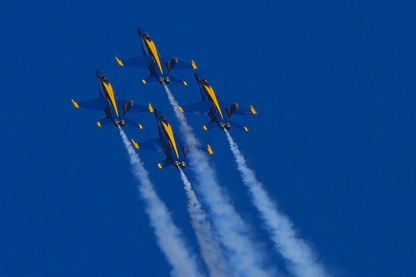 The U.S. Navy Blue Angels performed to a packed crowd Saturday afternoon at the Miramar Air Show 2015. Over the weekend a crowd of about 500,000 is expected to attend the air show at MCAS Miramar.