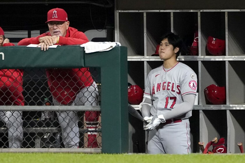 Angels manager Joe Maddon and designated hitter Shohei Ohtani watch from the dugout.