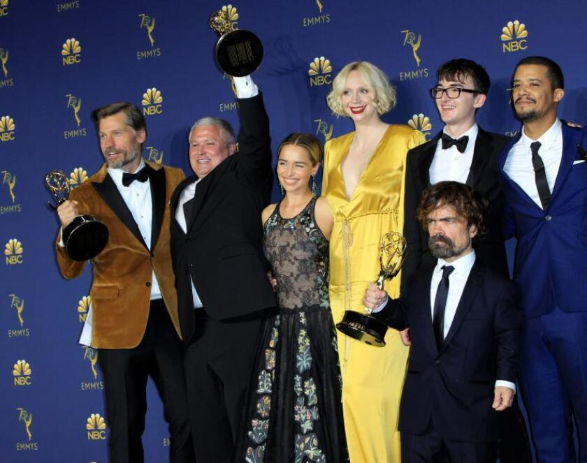 The cast of Game of Thrones poses with the Emmy for Outstanding Drama Series at the 70th annual Primetime Emmy Awards ceremony held at the Microsoft Theater in Los Angeles, California, USA, Sep. 17, 2018. EPA-EFE FILE/NINA PROMMER