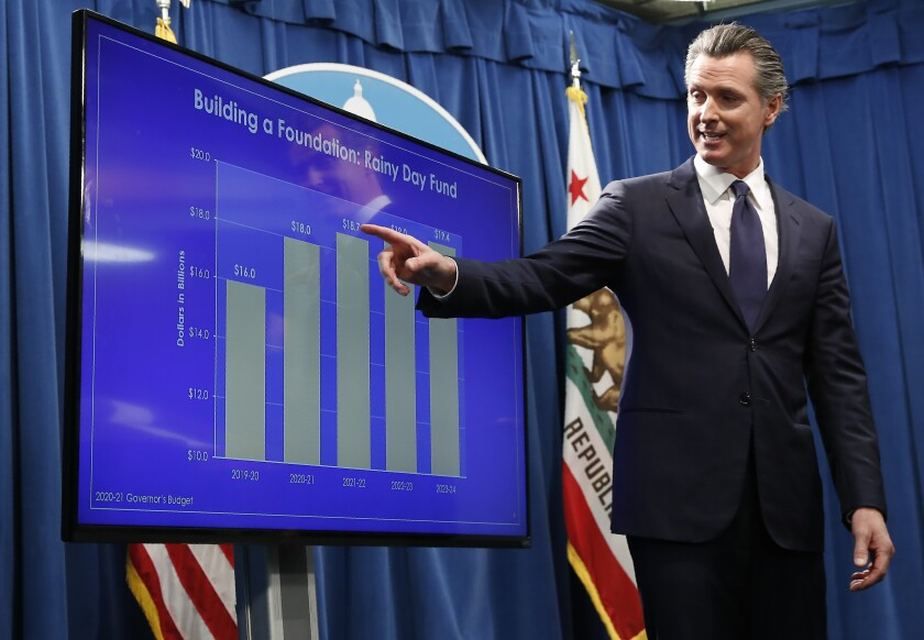 Gov. Gavin Newsom with a chart showing the growth of the state's rainy-day fund as he discusses his proposed 2020-21 budget in Sacramento on Jan. 10.