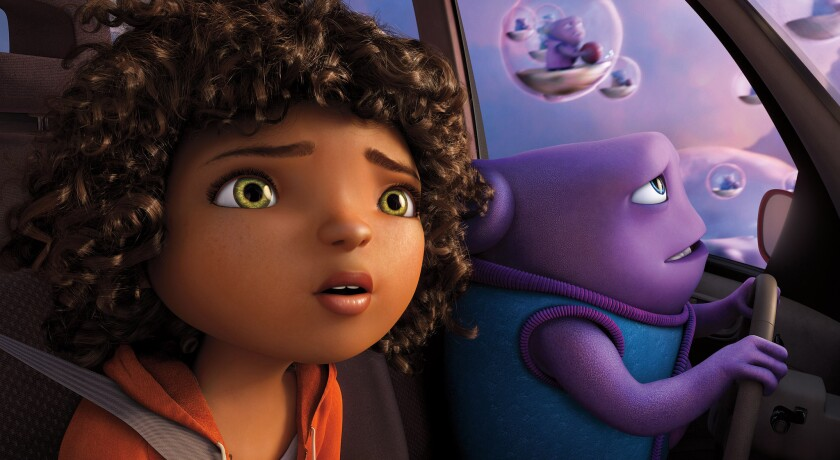 """Tip (Rihanna) and Oh (Jim Parsons) take to the skies as they embark on an incredible global adventure in """"Home."""""""