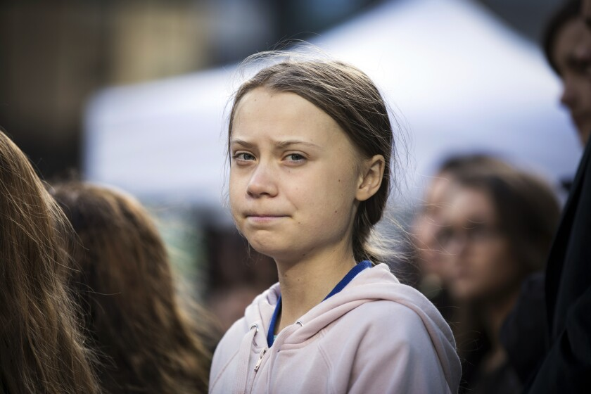 Swedish climate activist Greta Thunberg at a climate rally in Vancouver, British Columbia