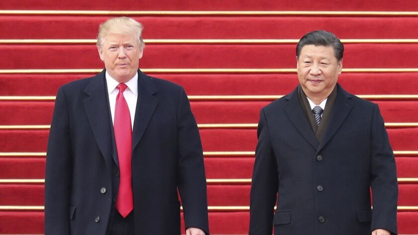 Chinese President Xi Jinping holds a ceremony to welcome President Trump in Beijing on Nov. 9, 2017.