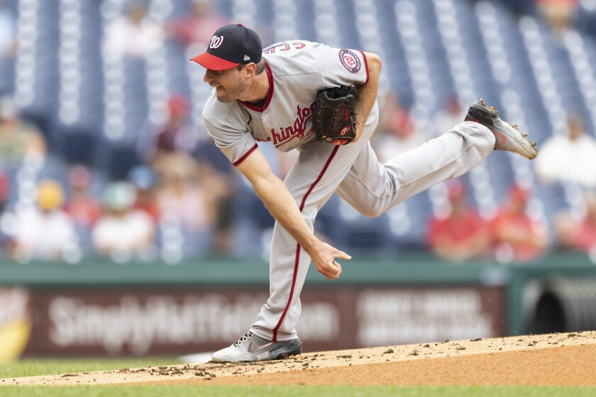 Pitching on Thursday in his final game for Washington, Max Scherzer allowed one run in six innings at Philadelphia.