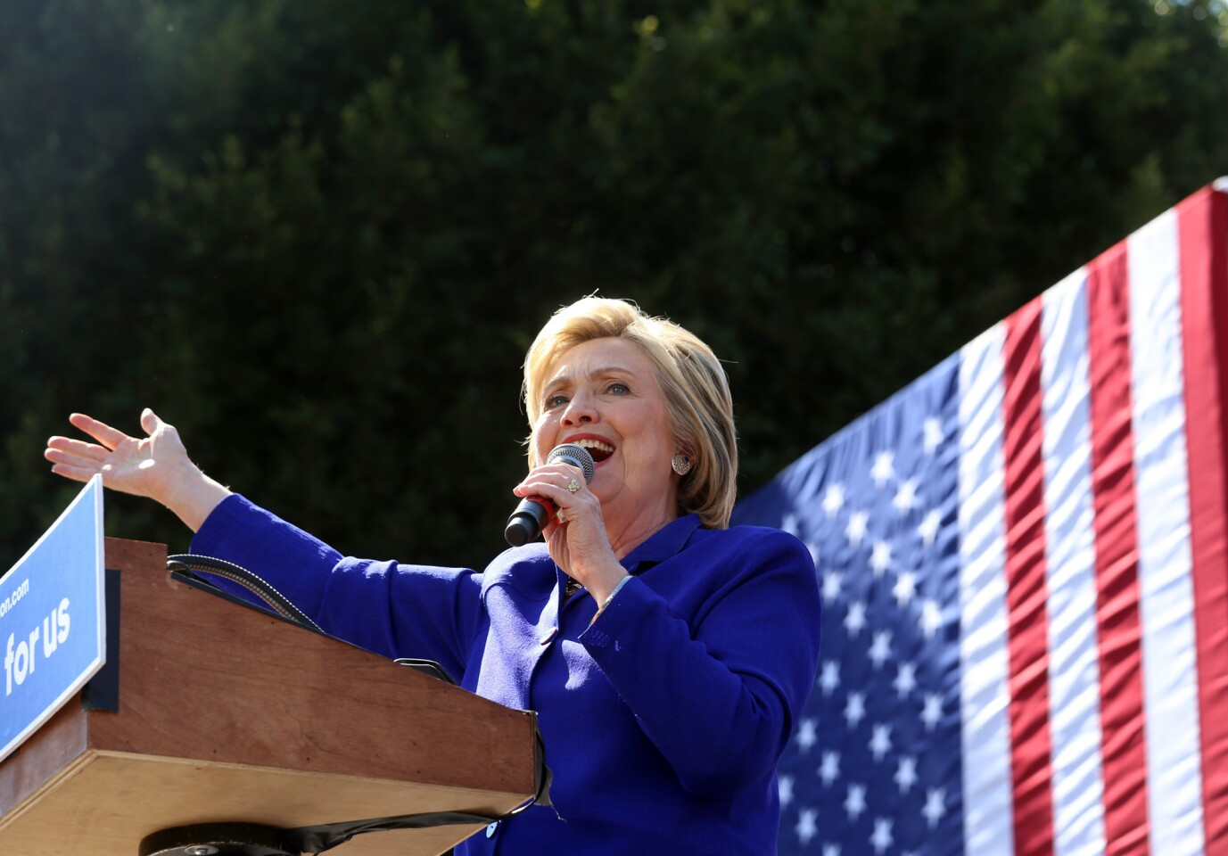 Democratic presidential candidate Hillary Clinton addresses supporters in the Los Angeles neighborhood of Leimert Park.