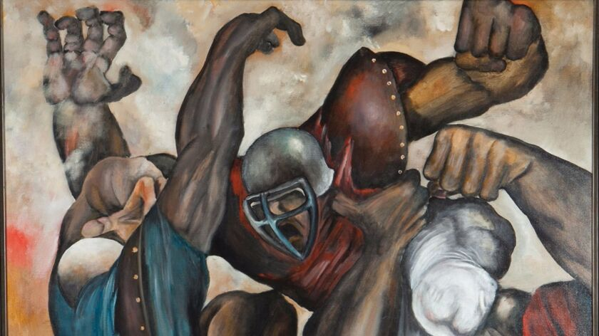"""A portion of the painting, """"The American War Game,"""" by former Chargers player Ernie Barnes, who bec"""