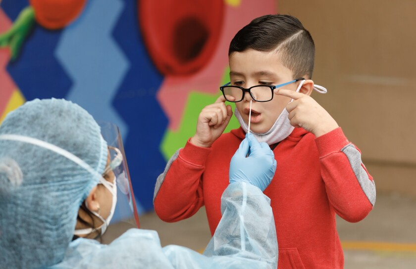 A kindergarten student gets a coronavirus test via nose swab