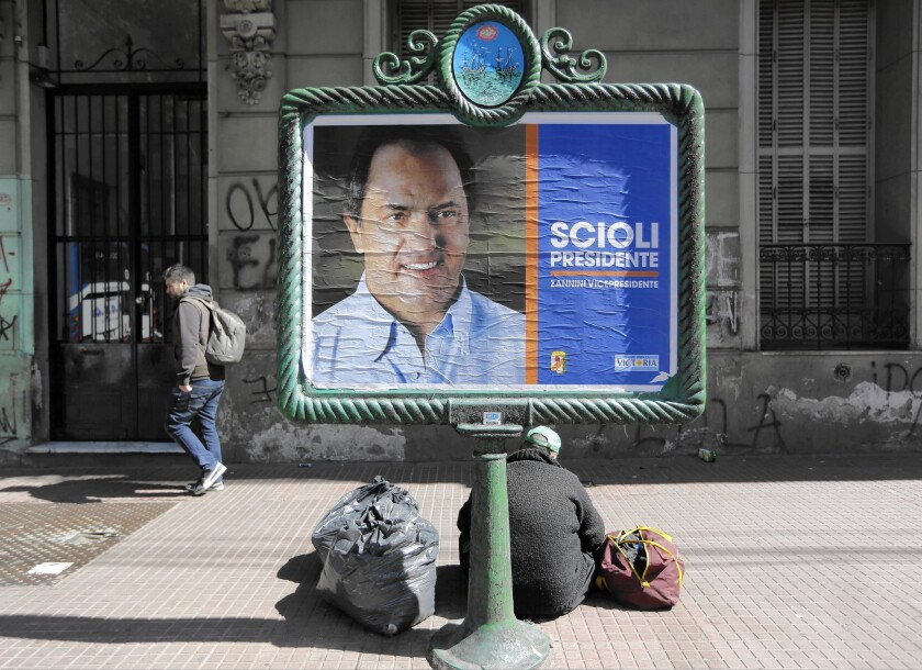 Buenos Aires state Gov. Daniel Scioli, an ally of President Cristina Fernandez de Kirchner, is expected to win the most votes in Sunday's election to succeed her. The question is whether he'll garner enough to win outright.