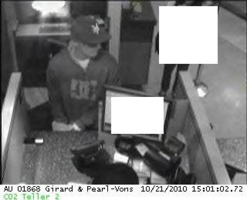 Security camera shows the man who robbed the Wells Fago Bank in Vons' La Jolla location. Photo: FBI