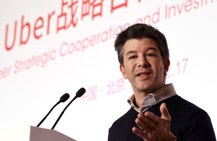 Uber Chief Executive Travis Kalanick said last year that he liked the idea of self-driving cars and saw potential for them to lower costs. Above, Kalanick at a technology conference in Beijing in December.