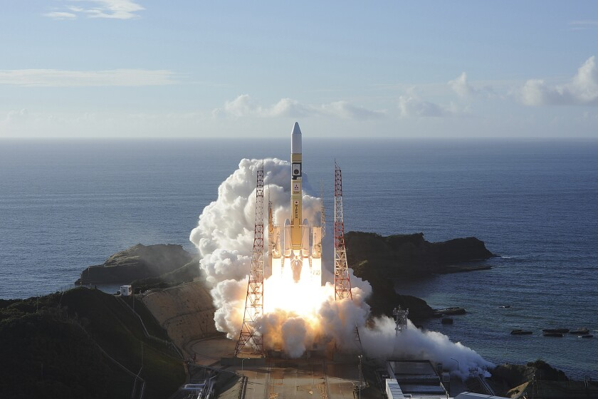 United Arab Emirates' Mars orbiter, Hope, lifts off from southern Japan in July.