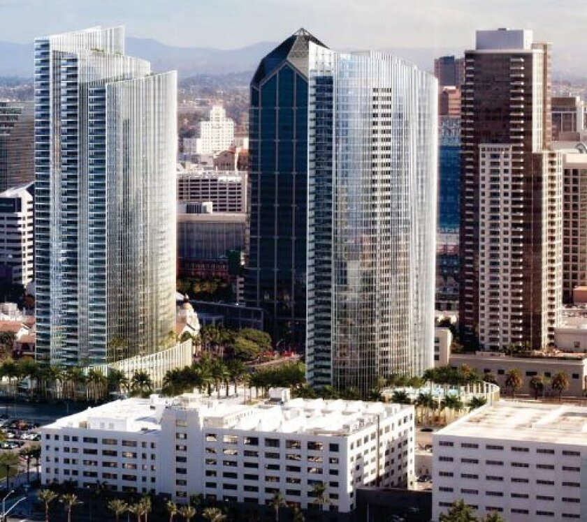 The new Bosa condo tower, left, would be built on the north side of Broadway and west of the Santa Fe Depot. A near-twin, right, is under construction south of Broadway.