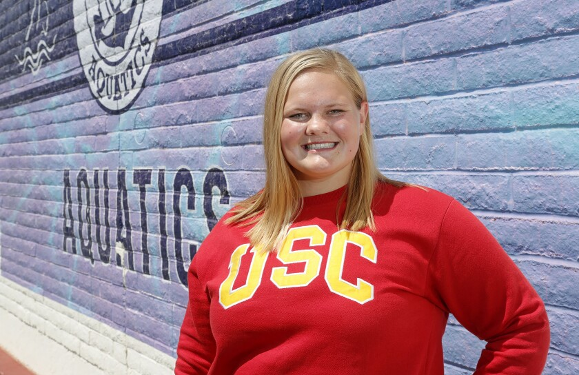 Newport Harbor girls' water polo center Olivia Giolas has committed to USC.