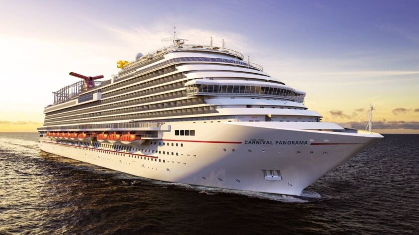 A digital rendering of the Carnival Panorama, which was to set sail from Long Beach on April 11. Until Monday, passengers who sought refunds because of the coronavirus were offered credits for other cruises.