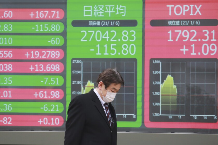 A man walks by an electronic stock board of a securities firm in Tokyo, Wednesday, Jan. 6, 2021. Asian shares were mostly lower Wednesday as surging virus counts and China-U.S. tensions weighed on sentiment. (AP Photo/Koji Sasahara)