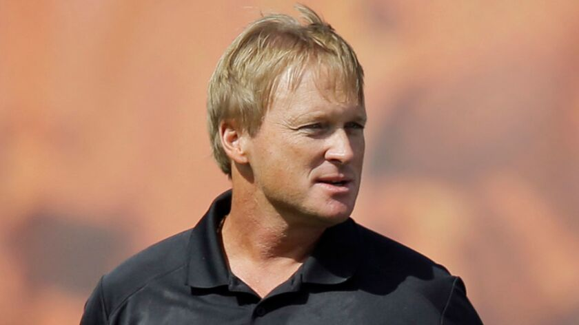 Jon Gruden, shown in 2014, will be announced as the Raiders' head coach on Tuesday, according to multiple media reports,