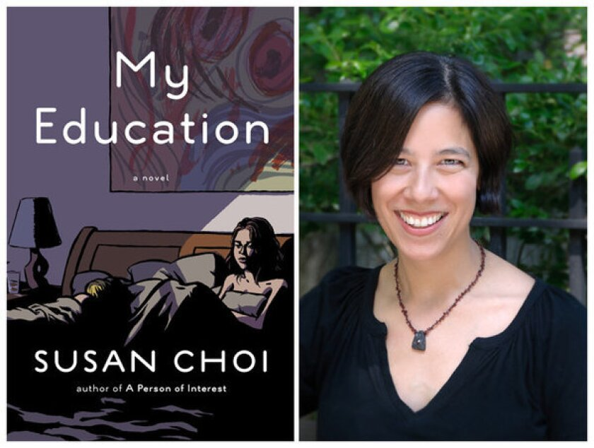 """The cover of """"My Education"""" and author Susan Choi."""