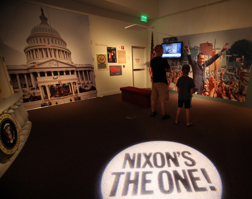 Visitors at the Richard Nixon Presidential Library and Museum in Yorba Linda.
