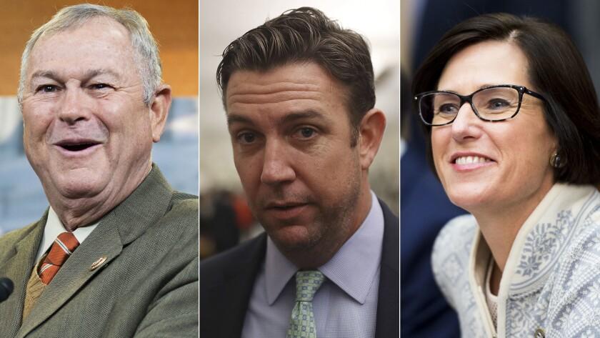 Incumbent GOP Reps. Dana Rohrabacher, left, Duncan Hunter and Mimi Walters.