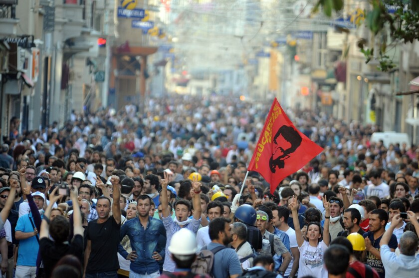 Antigovernment protesters demonstrate in Istanbul, Turkey.