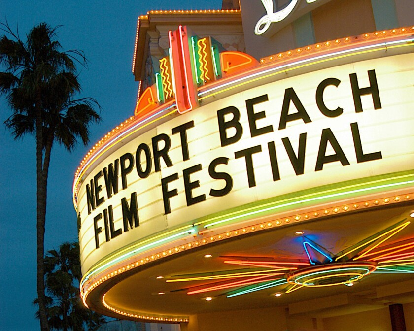"""A marquee sign with the words """"Newport Beach Film Festival."""""""