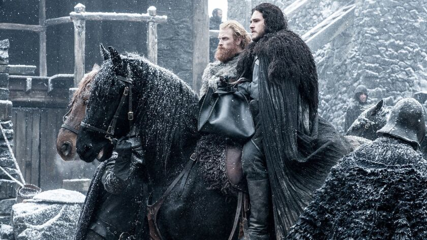 GAME OF THRONES 47 (season 5, episode 7): Kristofer Hivju, Kit Harington. photo: Helen Sloan/courtes