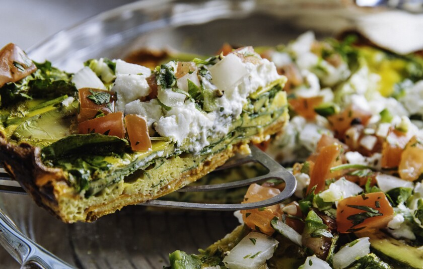 "Goat Cheese Frittata With Sweet Potatoes from ""The Mexican Keto Cookbook."""