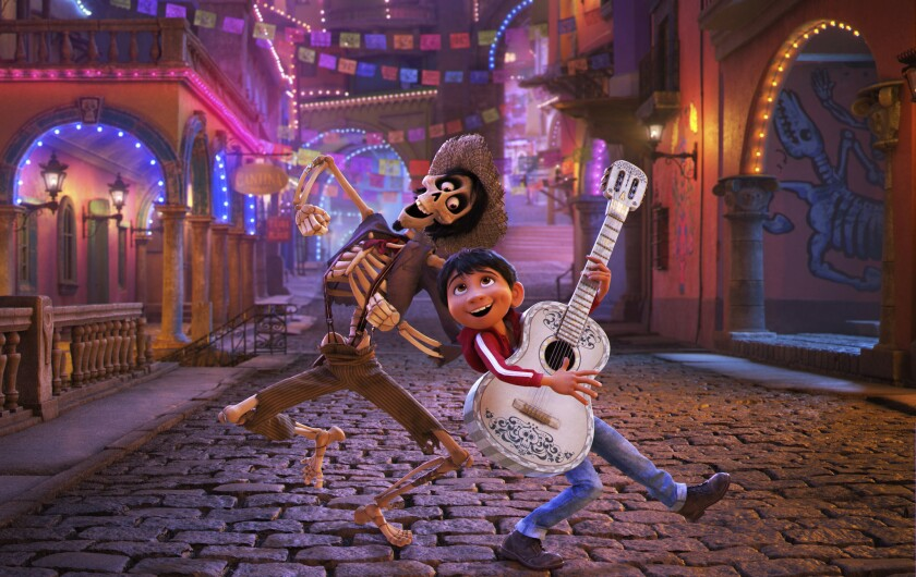 "This image released by Disney Pixar shows a scene from the film, ""Coco."""