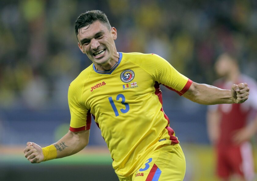 Romania's Claudiu Keseru celebrates scoring a goal during the international friendly soccer match between Romania and Georgia on the National Arena stadium, in Bucharest, Romania, on Friday, June 3, 2016. (AP Photo/Vadim Ghirda)