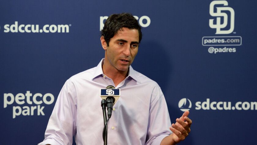 San Diego Padres General Manager A.J. Preller addresses the media before a game against the Arizona Diamondbacks on Sept. 20, 2017, in San Diego.