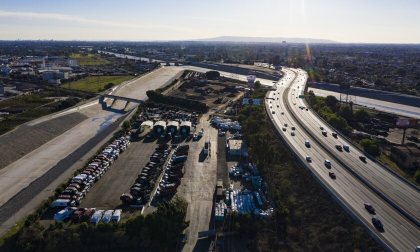 Overhead view of cars on a freeway.
